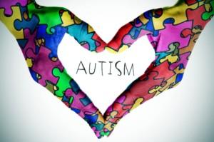 Autism hands in shape of heart